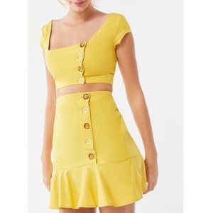 UO Yellow Lily Linen Button Front Ruffle Skirt